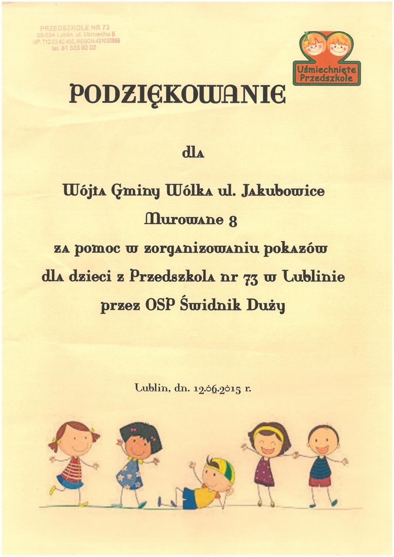podziękowania za pomoc w zorganizowaniu pokazów dla dzieci z Przedszkola nr 73 w Lublinie przez OSP Świdnik Duży