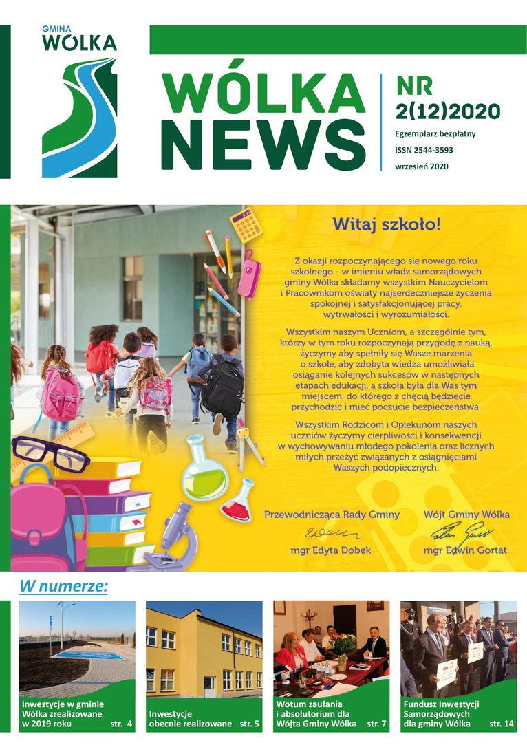 Okładka gazety Wólka news z życzeniami rozpoczęcia roku szkolnego