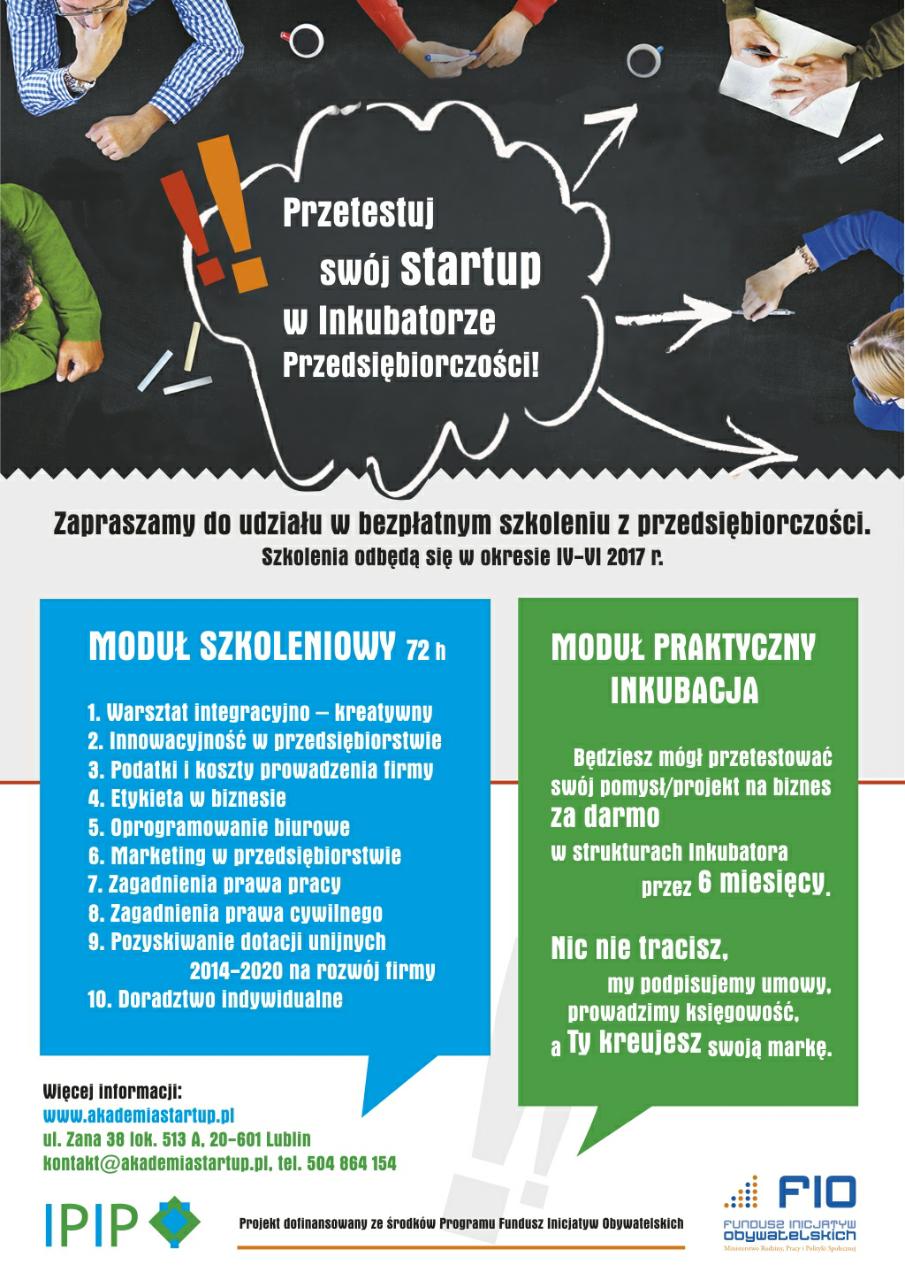 Fundacja IPIP zaprasza do udziału w bezpłatnym szkoleniu z przedsiębiorczości.