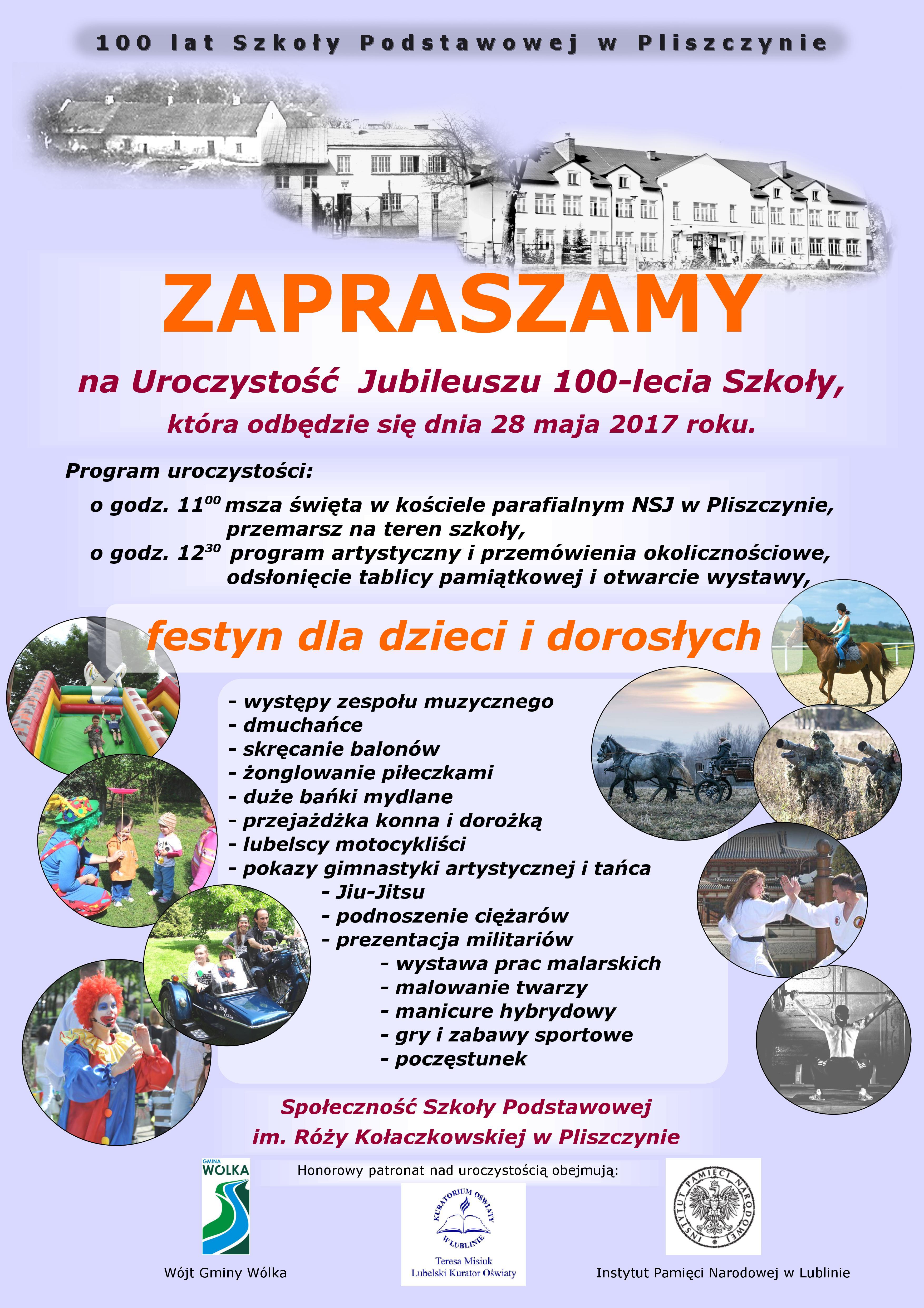 Zaproszenie na 100-lecie Szkoły Podstawowej im. Róży Kołaczkowskiej w Pliszczynie
