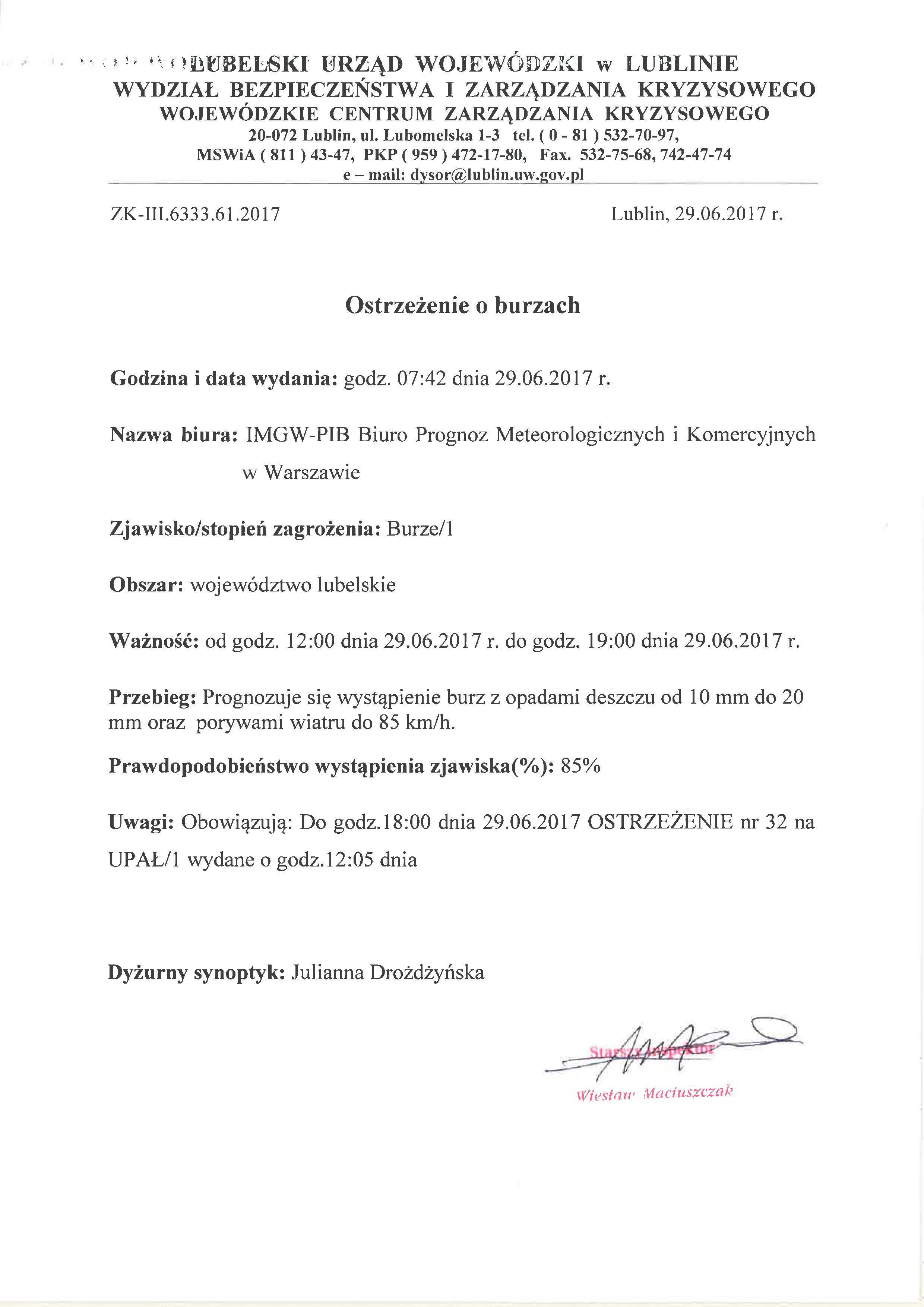 Ostrzeżenie o burzach z dn. 29.06.2017 r.
