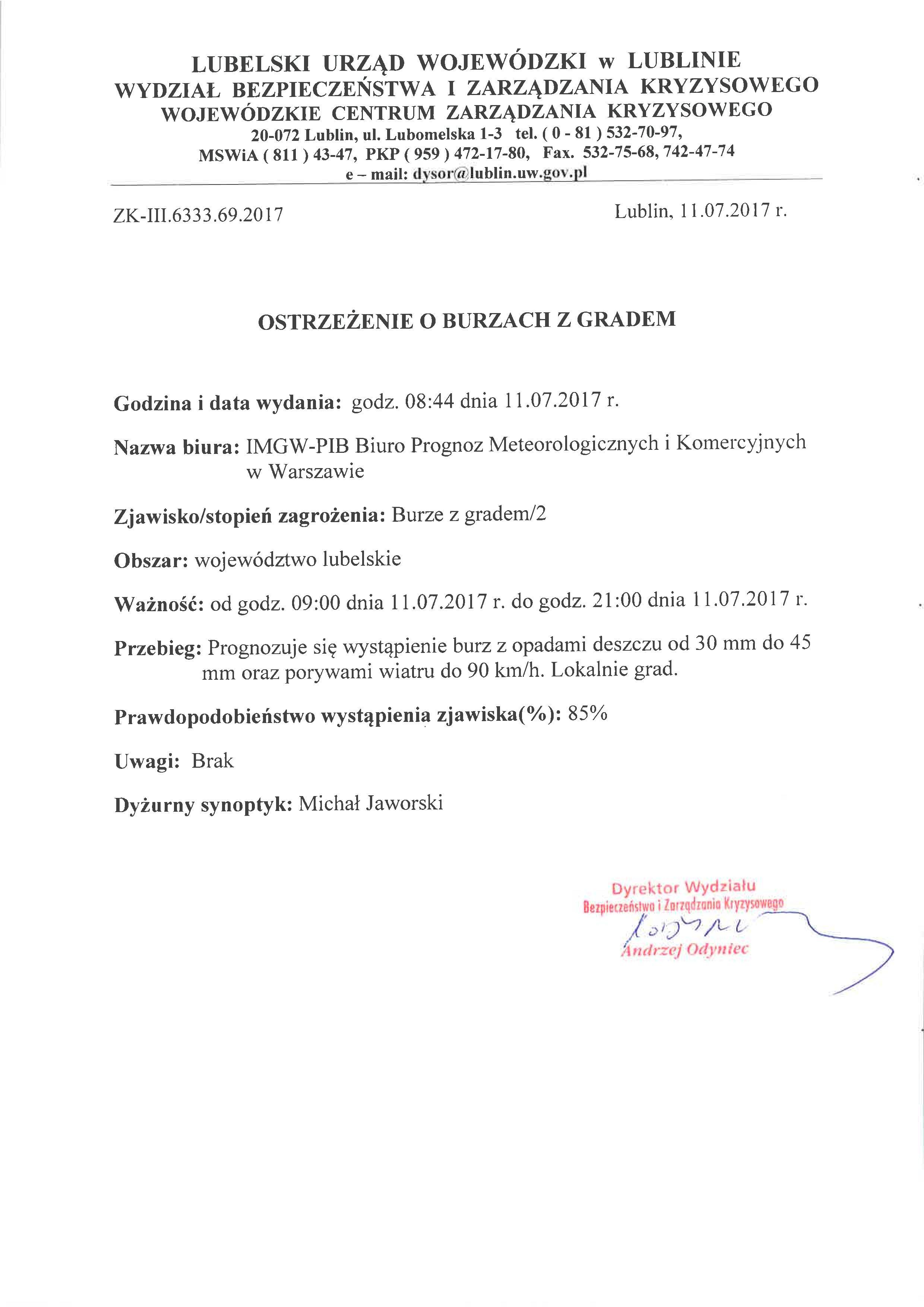 Ostrzeżenie o burzach z gradem 11.07.2017r