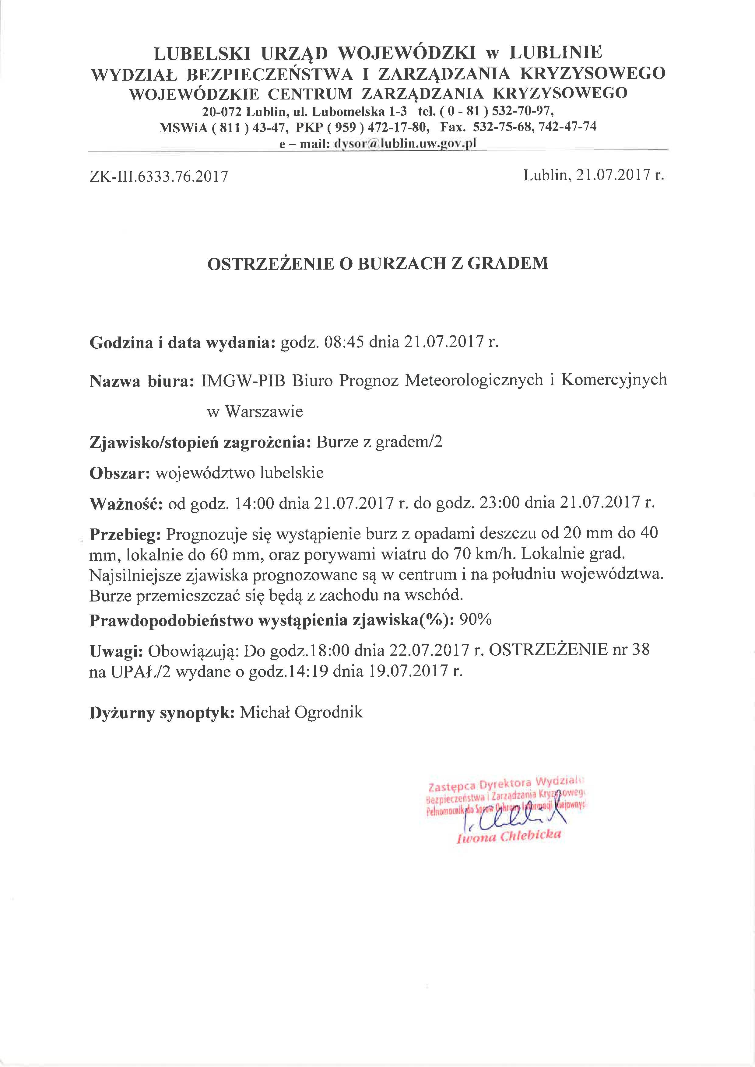 Ostrzeżenie o burzach z gradem z dn. 21.07.2017 r.