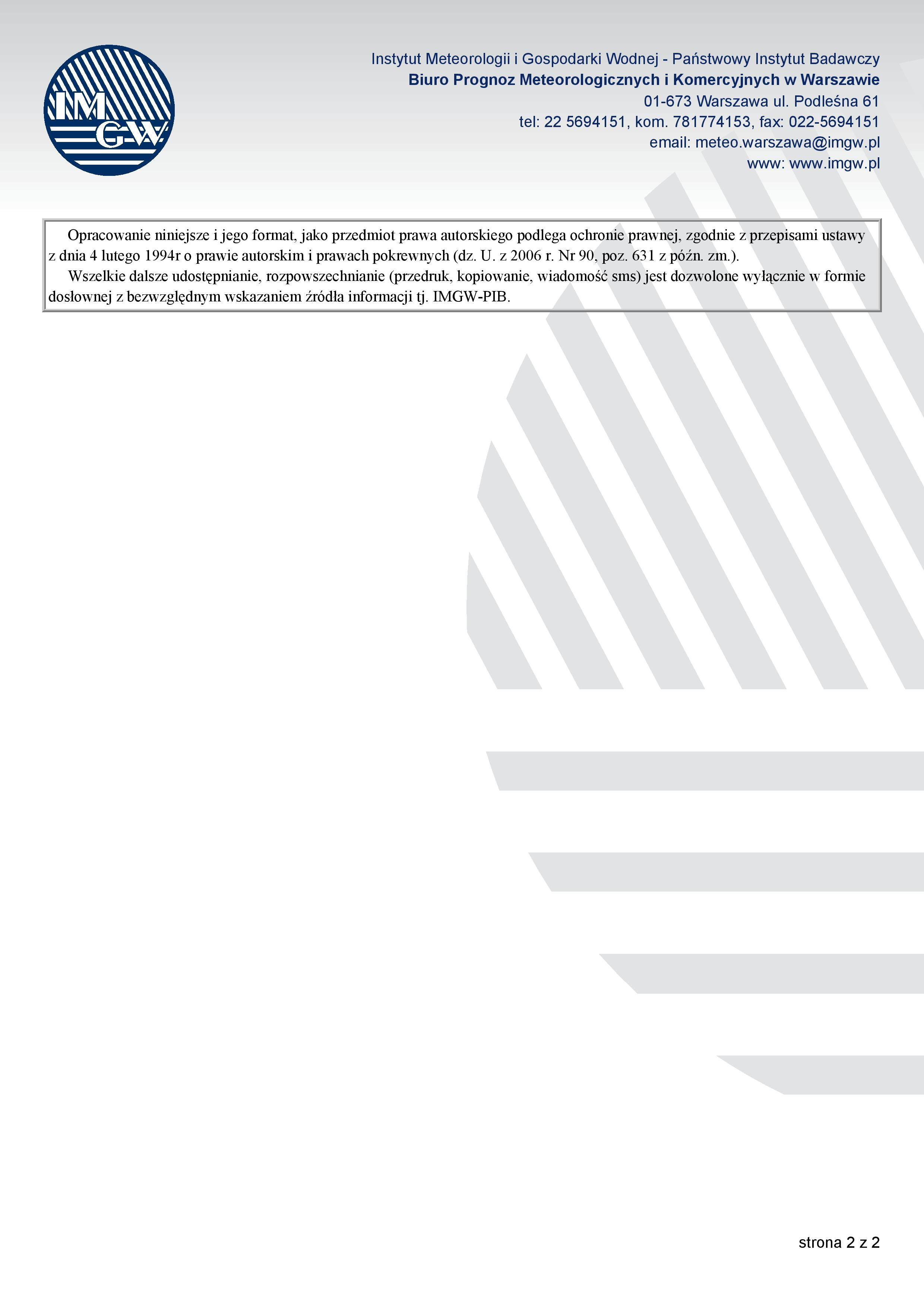PROGNOZA NIEBEZPIECZNYCH ZJAWISK METEOROLOGICZNYCH z dn. 08.08.2017 r.