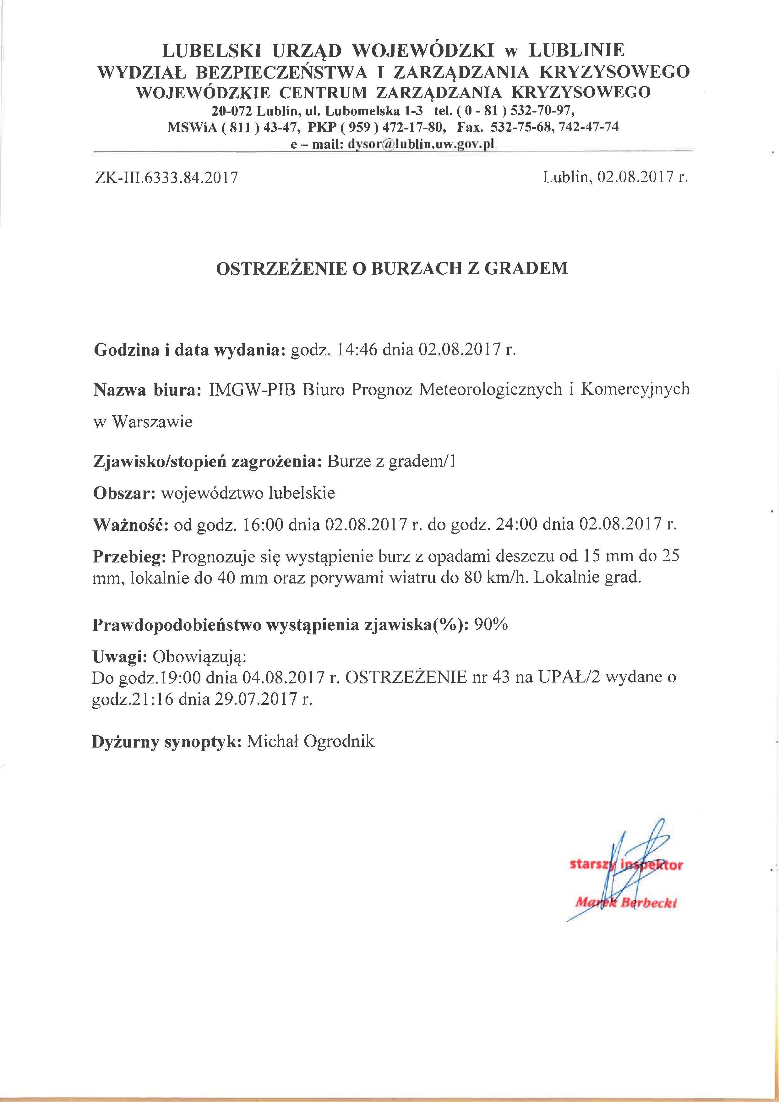 Ostrzeżenie o burzach z gradem z dn. 2.08.2017 r.