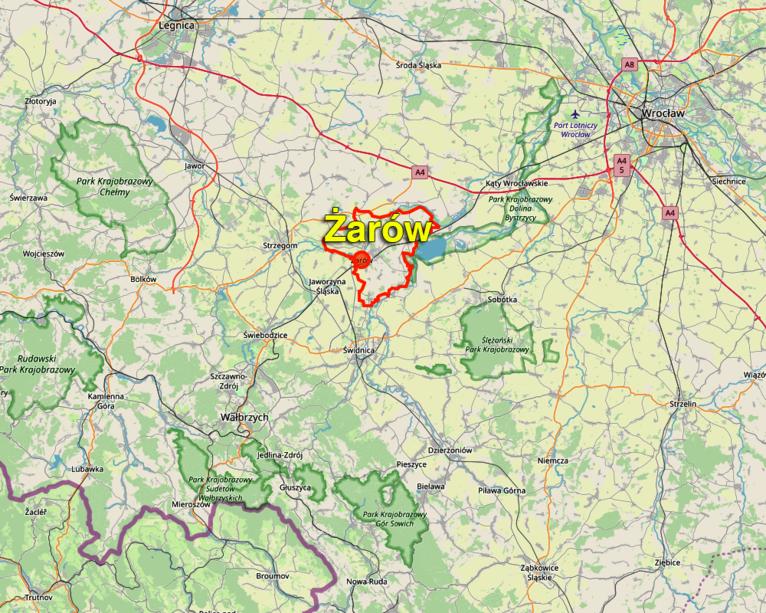 Zdjęcie kawałek mapy z zaznaczona obwódką terytorium Gminy Żarów, po środku napis Gmina Żarów
