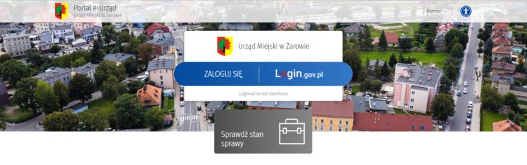 Skrin strony głównej z portalu https://eurzad.um.zarow.pl/