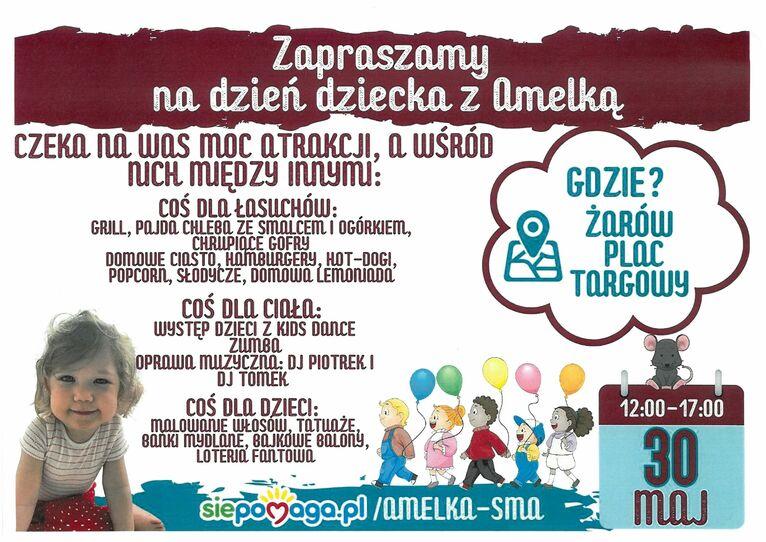 Plakat Zapraszamy na dzień dziecka z Amelką