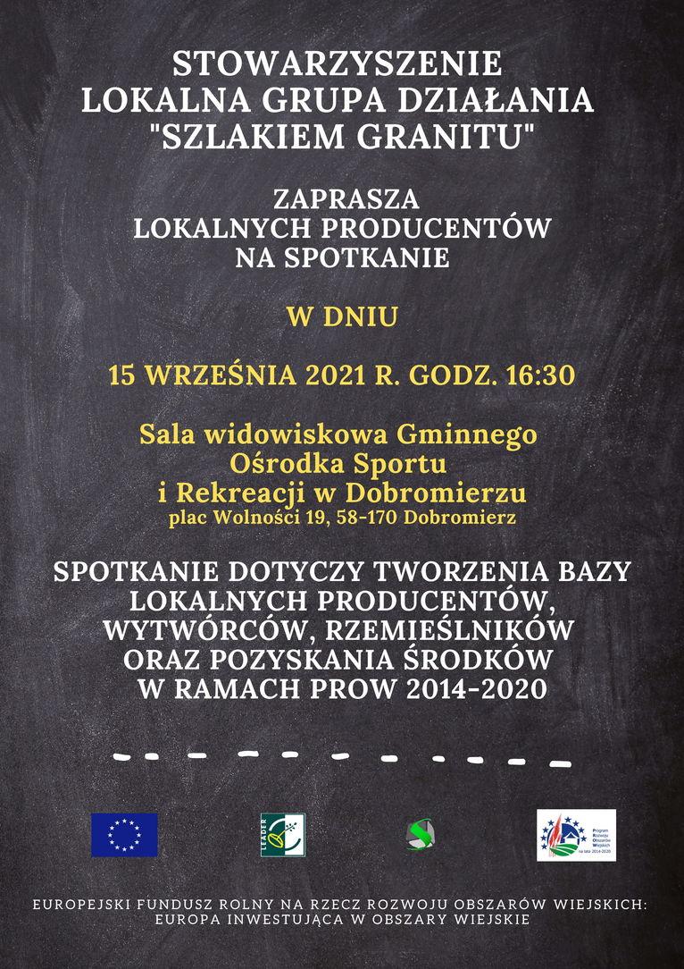 plakat LGD Szlakiem Granitu spotkanie dla lokalnych producentów
